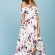 oasis floral smocked off the shoulder maxi dress