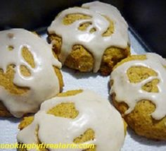 Glazed Pumpkin Cookies - Preheat oven to 350 degrees. Combine flour, baking powder, baking soda, cinnamon, nutmeg, ground cloves, and salt in a medium...