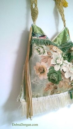 Hey, I found this really awesome Etsy listing at https://www.etsy.com/au/listing/248564161/tattered-green-floral-bag-vintage-fabric