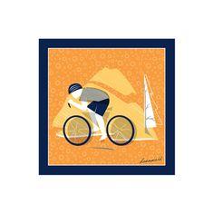 Silk pocket square in bicycle design