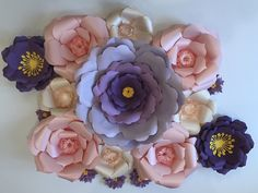 Purple Favorite. Spring Bloom Special. Gorgeous Nursery Decoration. Event or Home Decor. Wall art. Paper Flowers. Made in Maryland USA. Can be purchased on Ebay at Rituska_Inc store. Rental inquiries to info@rituskainc.com. Www.rituskainc.com