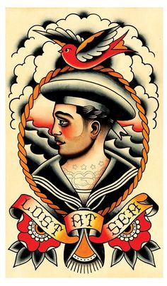 Vintage Sailor Lost at Sea Tattoo Flash Print by MissMartinTattoos
