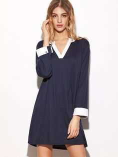 Contrast Trim V Neck Slit Side Shirt Dress - Party dresses outlet
