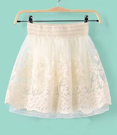 Floral Embroidery Organza Skirt