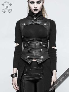 Gothic Fetish harness style black corsage vest with lots of straps, buckles, studs ans lacing. High neck. Open bust
