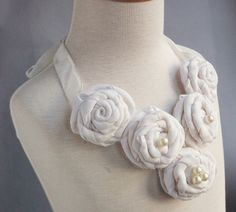 Statement Bib Necklace White Silk fabric roses by camillalimon, $36.00
