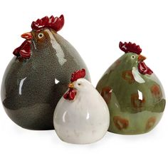 Stylized Blue Green White Glaze Chicken Set of 3 Ceramic Decor Imax - Farmhouse - Decorative Objects And Figurines - by Homesquare Pottery Animals, Ceramic Animals, Ceramic Birds, Ceramic Clay, Ceramic Pottery, Ceramic Decor, Pottery Art, Ceramic Chicken, Chicken Art