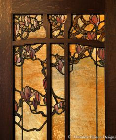 detail of magnolia leaded glass windows - by Theodore Ellison Designs