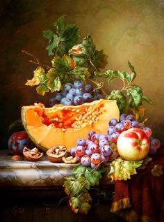 Gabor Toth (Hungary, b. 1950). Натюрморт с вином и фруктами. - Форум по искусству и инвестициям в искусство
