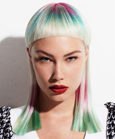 Long Blonde Straight Coloured Defined-fringe Short-fringe Silver Womens Haircut hairstyles for women