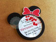 convite Minnie com paetês