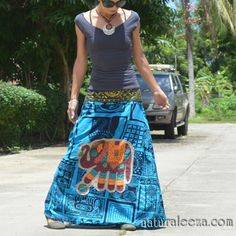 【AfricanCloth】Elephant patch maxi skirt- ★naturaleeza★-遊び着いっぱい◎ヒッピー・エスニック・レイブファッション- #fashion #onlinestore #hippiefashion #handmade