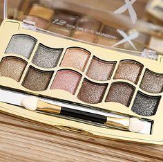 Smoky Maquillaje de Ojos profesional 12 Colores Paleta de Sombra de ojos de Oro Diamante Brillante Brillo Sombra de Ojos Paleta de Maquillaje Cosméticos