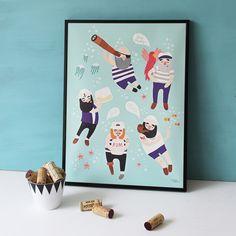 Sailor friends Poster - Michelle Carlslund Illustration