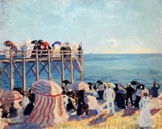 The beach and pier at Trouville, 1905-Raoul Dufy - by style - Fauvism