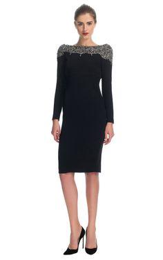 Silk Crepe Embellished Cowl Back Dress by Marchesa for Preorder on Moda Operandi