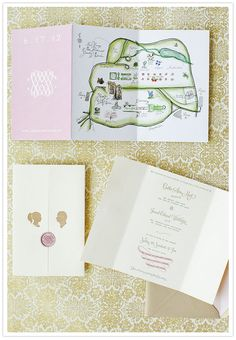 Beautiful custom invite suite and map. DIY by bride.
