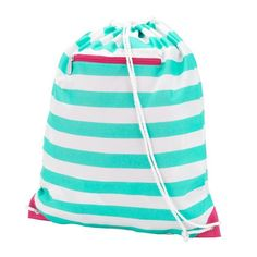 Our Skylar Stripe Gym Bag has a drawstring closure and front zipper.  Super durable and high on style, these cute gym bags match our backpacks and lunch bags.