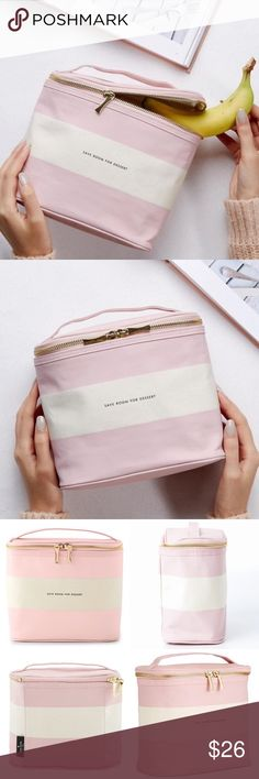 """Kate Spade Stripe Lunch Tote Goodbye brown bag, hello blush pink Kate Spade lunch tote. Featuring a coated-linen cover, complemented by an insulated interior and an easy-carry handle. Coated linen material insulated interior with gold zipper pulls.  7""""h x 8""""w x 4.5""""d.  Brand new with tags. kate spade Bags"""