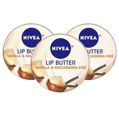 NIVEA Lip Butter Tin Vanilla & Macadamia Kiss - 3 Pack