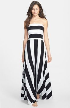 Elan Stripe Convertible Bias Cut Cover-Up Maxi Dress available at #Nordstrom