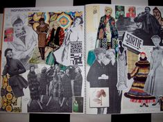 Fashion Sketchbook - research & inspiration pages - fashion collage; developing ideas; fashion design process // Verrier Fashion
