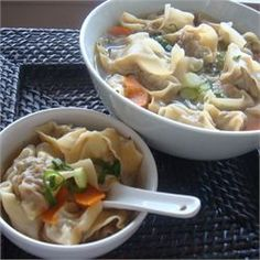 Wonton Soup. Suggested recipe alterations add: ginger, garlic, soy sauce and sesame oil to broth!