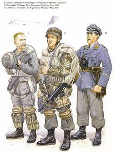 1: Cazador, Regimiento de Asalto Aereo desconocido, Operacion Merkur, mayo de 1941 2: Sargento, 7ma Division Aerotransportada, Operacion Merkur, mayo de 1941 3: Teniente, 7ma Division Aerotransportada, Operacion Merkur, mayo de 1941