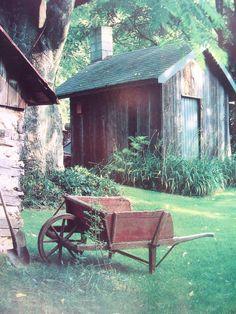 country living - so serene! Country Farm, Country Life, Country Living, Country Bumpkin, Primitive Country, Primitive Decor, Rustic Decor, Wooden Wheelbarrow, Wheelbarrow Garden