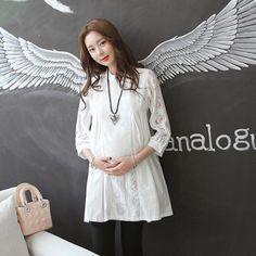 5d2c6668e05 OkayMom Maternity Blouse Shirt Dress Fashion White Lace Clothes For Pregnant  Women Pregnancy Wear Tops Tees