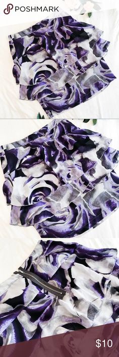Worthington Skirt Worthington Skirt with purple, grey, and black swirl design. It also has a layering ruffles. It has a zip up back and fits like a pencil skirt.   Thanks for visiting my posh shop 💕💕 Worthington Skirts Pencil