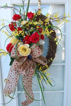 Spring and Summer Wreath by HangingTouches on Etsy, $110.00