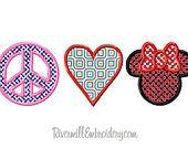 Peace Love Mouse Applique Machine Embroidery Design - 3 Sizes. $2.95, via Etsy.