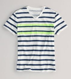AE Striped V-Neck T. I like the highlighter yellow.