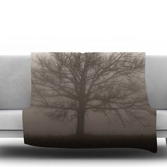 """East Urban Home Lonely Tree by Angie Turner Fleece Throw Blanket Size: 90"""" L x 90"""" W"""