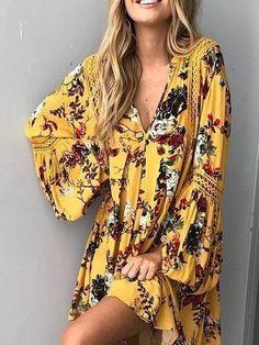 Yellow Floral V-neck Lace Panel Blouson Sleeves Mini Dress