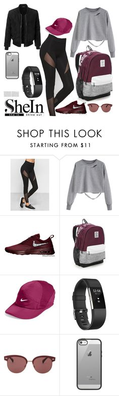 """SheIn"" by herlovelybeauty ❤ liked on Polyvore featuring Victoria's Secret, NIKE, Fitbit, Oliver Peoples, Belkin and LE3NO"