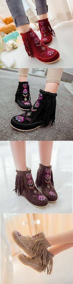 US$38.33 Large Size Tassel Embroidered Warm Fur Flat Ankle Boots.Find it on NewChic today!