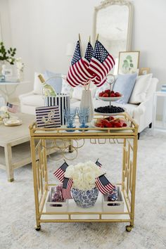 Fourth Of July Decor, Happy Fourth Of July, 4th Of July Decorations, 4th Of July Party, July 4th, Patriotic Party, Holiday Decorations, Holiday Ideas, Bar Cart Styling