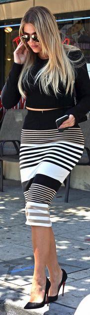 Khloe Kardashian: Shoes – Christian Louboutin  Skirt – Torn