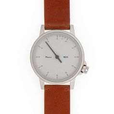 too big, 39mm :( M24 White on Leather Strap, Brown - Watches