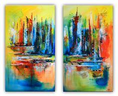 Himmelsleitern - Abstrakte Kunst Malerei Gemälde rot blau gelb zweiteilig