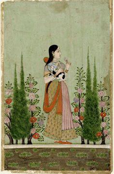 Noblewoman holding a Calf in a Cypress Garden. ca. 1700-50. Bidar, India Deccan