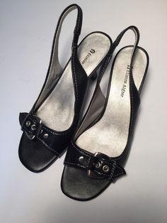 "Etienne Aigner Shoes ""Happy"" Size 9 Black Silver Buckle PeepToe Sling Back Pump #EtienneAigner #Slingbacks"