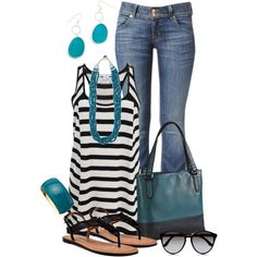 """Teal, black and white"" by peridotpixie on Polyvore"