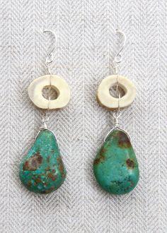 Deer Antler Bead & Rough Cut Turquoise Earrings. For sale @ www.foxandbeaux.com