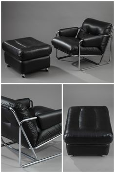 Lounge chair with its Ottoman in chromed-steel and black leather, from the 70s. Italian work.