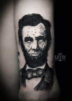 No Apples of Eyes Lincoln Blackwork tattoo by Ien Levin Black Ink Tattoos, Hot Tattoos, Body Art Tattoos, Black And Grey Sleeve, Black And White Abstract, Arm Tattoo, Sleeve Tattoos, Woodcut Tattoo, Modern Tattoos