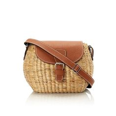 The Mini Crossbody Bag in Natural fromSeagrass.Faux leather strap.Style ID:21-MINI-W.NATURAL/TAN