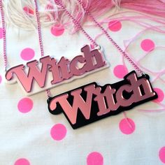 Cute Witch Acrylic Necklace in Mirror Pink with Black or White Background
